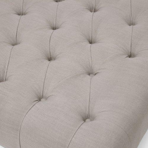 Baxton Studio Keswick Linen Modern Tufted Ottoman Beige 0 3