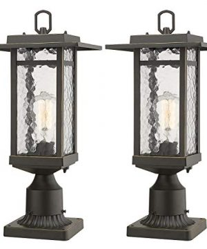 Beionxii Outdoor Post Lantern 2 Pack Exterior Post Lighting Fixture With 3 Inch Pier Mount Base Oil Rubbed Bronze Finish With Water Ripple Glass 82W X 185H A268P 2PK 0 300x360