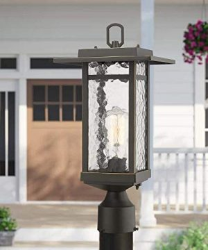 Beionxii Outdoor Post Light 1 Light Farmhouse Exterior Post Pole Lantern With 3 Inch Pier Mount Adapter Oil Rubbed Bronze Finish With Water Ripple Glass 82W X 185H A268 Series Renewed 0 0 300x360