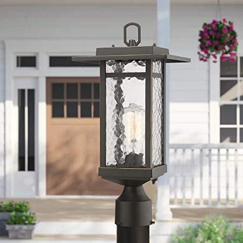 Beionxii Outdoor Post Light 1 Light Farmhouse Exterior Post Pole Lantern With 3 Inch Pier Mount Adapter Oil Rubbed Bronze Finish With Water Ripple Glass 82W X 185H A268 Series Renewed 0 0