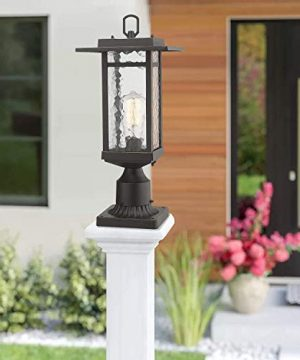 Beionxii Outdoor Post Light 1 Light Farmhouse Exterior Post Pole Lantern With 3 Inch Pier Mount Adapter Oil Rubbed Bronze Finish With Water Ripple Glass 82W X 185H A268 Series Renewed 0 1 300x360