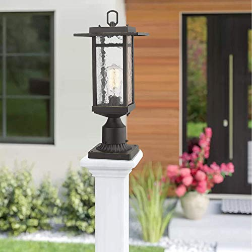 Beionxii Outdoor Post Light 1 Light Farmhouse Exterior Post Pole Lantern With 3 Inch Pier Mount Adapter Oil Rubbed Bronze Finish With Water Ripple Glass 82W X 185H A268 Series Renewed 0 1