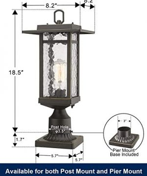 Beionxii Outdoor Post Light 1 Light Farmhouse Exterior Post Pole Lantern With 3 Inch Pier Mount Adapter Oil Rubbed Bronze Finish With Water Ripple Glass 82W X 185H A268 Series Renewed 0 2 300x360
