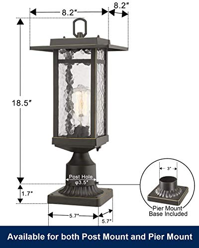 Beionxii Outdoor Post Light 1 Light Farmhouse Exterior Post Pole Lantern With 3 Inch Pier Mount Adapter Oil Rubbed Bronze Finish With Water Ripple Glass 82W X 185H A268 Series Renewed 0 2