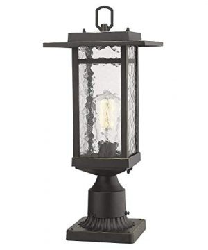 Beionxii Outdoor Post Light 1 Light Farmhouse Exterior Post Pole Lantern With 3 Inch Pier Mount Adapter Oil Rubbed Bronze Finish With Water Ripple Glass 82W X 185H A268 Series Renewed 0 300x360