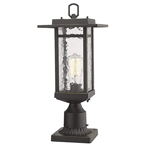 Beionxii Outdoor Post Light 1 Light Farmhouse Exterior Post Pole Lantern With 3 Inch Pier Mount Adapter Oil Rubbed Bronze Finish With Water Ripple Glass 82W X 185H A268 Series Renewed 0