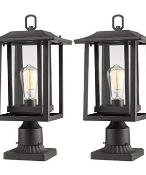 Beionxii Outdoor Post Light Fixture 2 Pack Large Exterior Post Lantern With 3 Inch Pier Mount Base Sand Textured Black With Clear Glass89W X 15H A197P 2PK 0 300x360