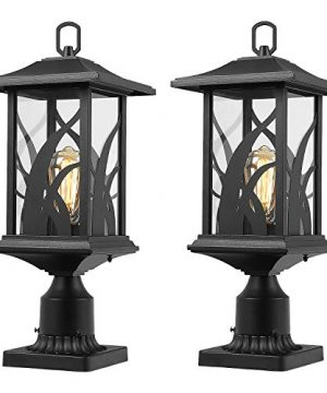 Beionxii Outdoor Post Light Fixtures Twin Pack Exterior Pillar Lantern Outside Lamp Post With 3 Inch Pier Mount Adapter Sand Textured Black Cast Aluminum With Clear Glass A331P 2PK 0 300x360