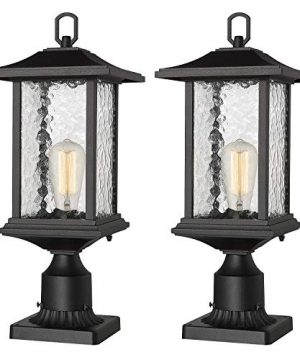 Beionxii Outdoor Post Lights 2 Pack Exterior Pillar Lantern Pole Lamp With 3 Inch Pier Mount Base Sand Textured Black Cast Aluminum With Water Glass 8W X 205H A272P 2PK 0 300x360