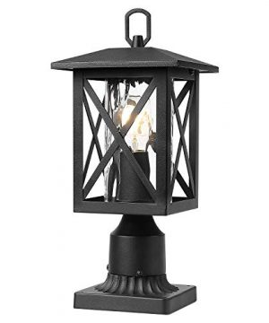 Beionxii Outdoor Post Lights Exterior Pier Mount Light With 3 Inch Base Sand Textured Black With Water Rippled Glass A330P 1PK 0 300x360