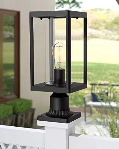 Beionxii Outdoor Post Lights Modern Exterior Post Lantern With 3 Inch Pier Mount Adapter Sand Textured Black Cast Aluminum With Clear Cylinder Glass A291P 1PK 0 0