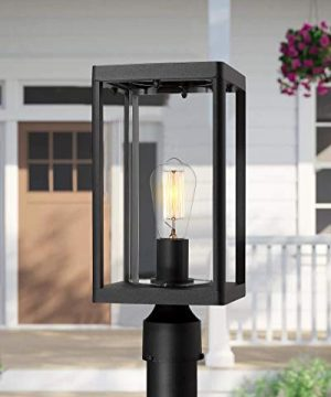 Beionxii Outdoor Post Lights Modern Exterior Post Lantern With 3 Inch Pier Mount Adapter Sand Textured Black Cast Aluminum With Clear Cylinder Glass A291P 1PK 0 1 300x360