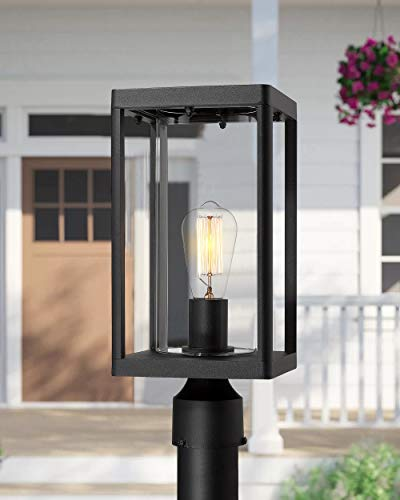 Beionxii Outdoor Post Lights Modern Exterior Post Lantern With 3 Inch Pier Mount Adapter Sand Textured Black Cast Aluminum With Clear Cylinder Glass A291P 1PK 0 1