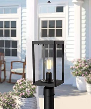 Beionxii Outdoor Post Lights Modern Exterior Post Lantern With 3 Inch Pier Mount Adapter Sand Textured Black Cast Aluminum With Clear Cylinder Glass A291P 1PK 0 2 300x360