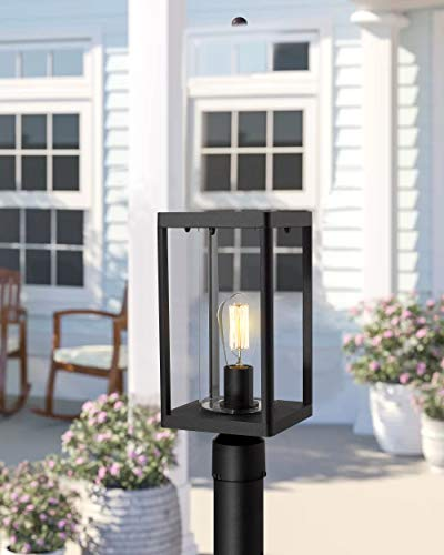 Beionxii Outdoor Post Lights Modern Exterior Post Lantern With 3 Inch Pier Mount Adapter Sand Textured Black Cast Aluminum With Clear Cylinder Glass A291P 1PK 0 2