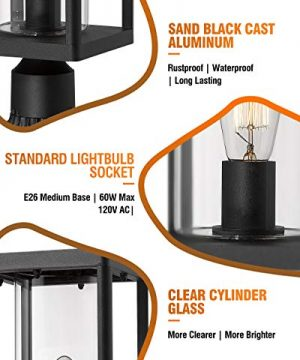 Beionxii Outdoor Post Lights Modern Exterior Post Lantern With 3 Inch Pier Mount Adapter Sand Textured Black Cast Aluminum With Clear Cylinder Glass A291P 1PK 0 3 300x360