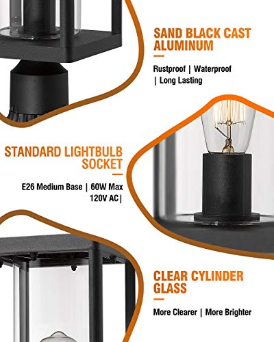 Beionxii Outdoor Post Lights Modern Exterior Post Lantern With 3 Inch Pier Mount Adapter Sand Textured Black Cast Aluminum With Clear Cylinder Glass A291P 1PK 0 3