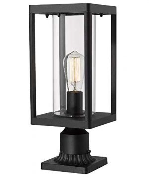 Beionxii Outdoor Post Lights Modern Exterior Post Lantern With 3 Inch Pier Mount Adapter Sand Textured Black Cast Aluminum With Clear Cylinder Glass A291P 1PK 0 300x360