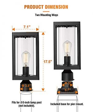 Beionxii Outdoor Post Lights Modern Exterior Post Lantern With 3 Inch Pier Mount Adapter Sand Textured Black Cast Aluminum With Clear Cylinder Glass A291P 1PK 0 4 300x360