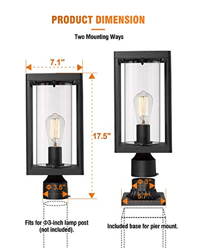 Beionxii Outdoor Post Lights Modern Exterior Post Lantern With 3 Inch Pier Mount Adapter Sand Textured Black Cast Aluminum With Clear Cylinder Glass A291P 1PK 0 4