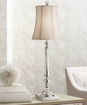 Belardo Traditional Console Table Lamp Clear Crystal Taupe Bell Shade For Living Room Family Bedroom Bedside Vienna Full Spectrum 0 300x360