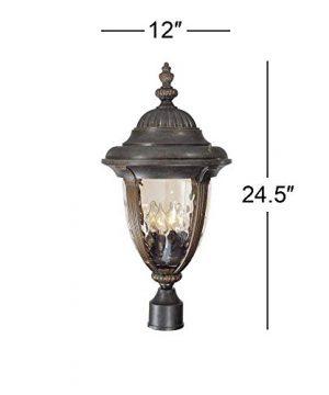 Bellagio Traditional Outdoor Light Post Fixture Veranda Bronze 24 12 Champagne Hammered Glass For Garden Yard Driveway John Timberland 0 3 300x360