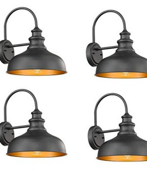 Bestshared Farmhouse Wall Mount Lights Gooseneck Barn Light Outdoor Wall Lantern For Porch With Black Finish And Contrast Color Interior 0 300x360