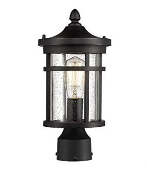 Bestshared Outdoor Post Light 1375 Height Exterior Post Lighting Fixture Outdoor Patio Post Lantern For Pathway Driveway FrontBack Door Post Lamp In Black Finish With Seeded Glass 0 300x360