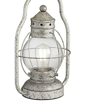 Bodie Rustic Industrial Table Lamp With USB Charging Port Nightlight Antique LED Edison Distressed Silver Off White Linen Shade For Living Room Bedroom Bedside Nightstand Office Franklin Iron Works 0 0 300x360