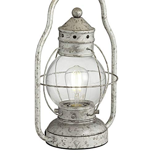 Bodie Rustic Industrial Table Lamp With USB Charging Port Nightlight Antique LED Edison Distressed Silver Off White Linen Shade For Living Room Bedroom Bedside Nightstand Office Franklin Iron Works 0 0