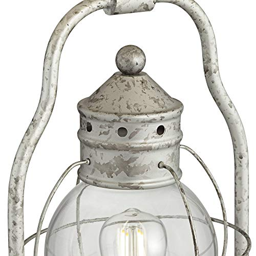 Bodie Rustic Industrial Table Lamp With USB Charging Port Nightlight Antique LED Edison Distressed Silver Off White Linen Shade For Living Room Bedroom Bedside Nightstand Office Franklin Iron Works 0 3