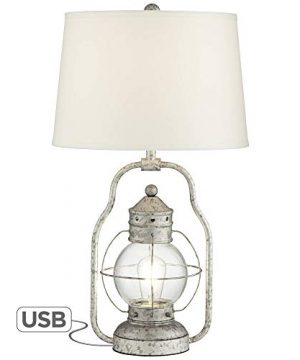 Bodie Rustic Industrial Table Lamp With USB Charging Port Nightlight Antique LED Edison Distressed Silver Off White Linen Shade For Living Room Bedroom Bedside Nightstand Office Franklin Iron Works 0 300x360
