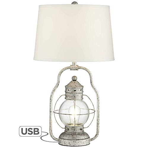Bodie Rustic Industrial Table Lamp With USB Charging Port Nightlight Antique LED Edison Distressed Silver Off White Linen Shade For Living Room Bedroom Bedside Nightstand Office Franklin Iron Works 0