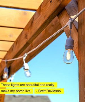 Brightech Ambience Pro White Waterproof LED Outdoor String Lights Hanging 2W Vintage Edison Bulbs 48 Ft Cafe Lights Create Bistro Ambience In Your Gazebo Back Yard 0 1 300x360