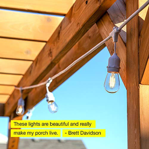 Brightech Ambience Pro White Waterproof LED Outdoor String Lights Hanging 2W Vintage Edison Bulbs 48 Ft Cafe Lights Create Bistro Ambience In Your Gazebo Back Yard 0 1