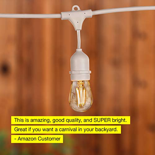 Brightech Ambience Pro White Waterproof LED Outdoor String Lights Hanging 2W Vintage Edison Bulbs 48 Ft Cafe Lights Create Bistro Ambience In Your Gazebo Back Yard 0 2