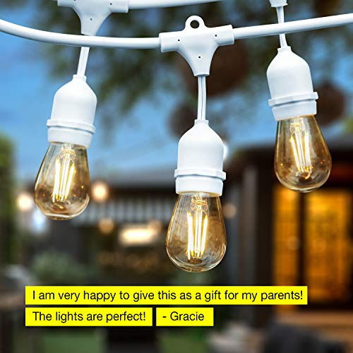 Brightech Ambience Pro White Waterproof LED Outdoor String Lights Hanging 2W Vintage Edison Bulbs 48 Ft Cafe Lights Create Bistro Ambience In Your Gazebo Back Yard 0 4