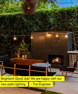 Brightech Ambience Pro White Waterproof LED Outdoor String Lights Hanging 2W Vintage Edison Bulbs 48 Ft Cafe Lights Create Bistro Ambience In Your Gazebo Back Yard 0 5 300x360