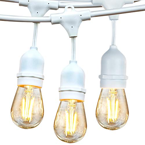 Brightech Ambience Pro White Waterproof LED Outdoor String Lights Hanging 2W Vintage Edison Bulbs 48 Ft Cafe Lights Create Bistro Ambience In Your Gazebo Back Yard 0