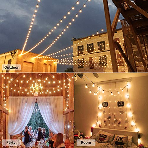 Brightown 50Ft G40 Outdoor Patio String Light Connectable Globe Lights With 52 Clear Bulbs2 Spare UL Listed Backyard Lights For Indoor Commercial Decor 50 Hanging Sockets E12 Base 5W Bulb Black 0 3