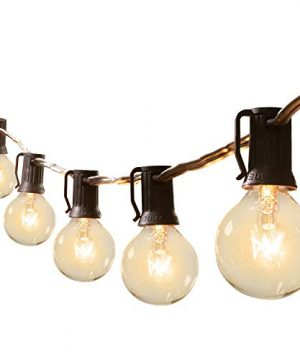 Brightown 50Ft G40 Outdoor Patio String Light Connectable Globe Lights With 52 Clear Bulbs2 Spare UL Listed Backyard Lights For Indoor Commercial Decor 50 Hanging Sockets E12 Base 5W Bulb Black 0 300x360