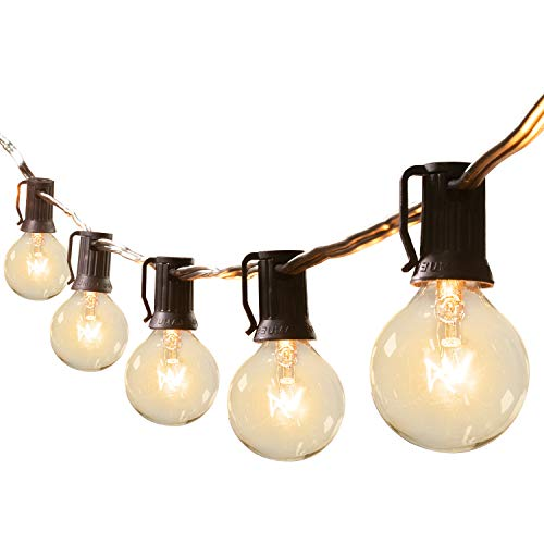 Brightown 50Ft G40 Outdoor Patio String Light Connectable Globe Lights With 52 Clear Bulbs2 Spare UL Listed Backyard Lights For Indoor Commercial Decor 50 Hanging Sockets E12 Base 5W Bulb Black 0