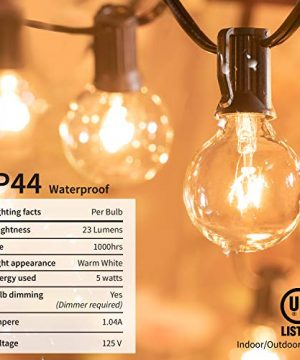 Brightown Outdoor String Lights 25Ft G40 Globe Patio Lights With 26 Edison Glass Bulbs1 Spare Waterproof Connectable Hanging Light For Backyard Porch Balcony Party Decor E12 Socket BaseBlack 0 2 300x360