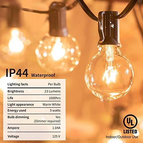 Brightown Outdoor String Lights 25Ft G40 Globe Patio Lights With 26 Edison Glass Bulbs1 Spare Waterproof Connectable Hanging Light For Backyard Porch Balcony Party Decor E12 Socket BaseBlack 0 2
