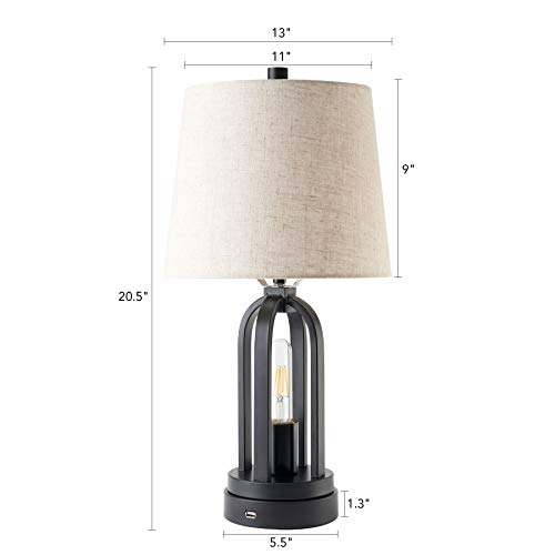CO Z Farmhouse Table Lamps Set Of 2 With USB Port Industrial Table Lamps With LED Edison Nightlight Rustic Table Lamps Black For Living Room Bedroom Nightstand 0 5