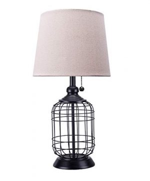 CO Z Modern Black Birdcage Base Table Lamp Industrial Anti Rust Metal Base Mid Century Oatmeal Linen Shade Retro 18 Inches Height For Entryway Table Living Room Bedroom Bedside 0 300x360