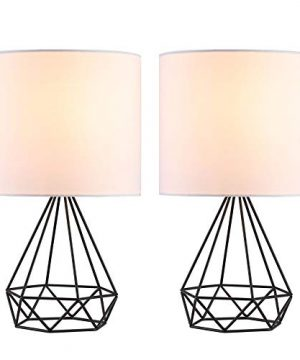 CO Z Modern Table Lamps For Living Room Bedroom Set Of 2 Black Metal Desk Lamp With Hollowed Out Base And White Fabric Shade 16 Bedside Lamps For Farmhouse Nightstand Accent 0 300x360