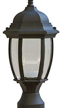 CORAMDEO Outdoor Hex Curved Glass LED Post Lantern For Porch Patio Wet Location Built In LED Gives 75W Of Light From 95W Of Power 3K Durable Cast Aluminum With Black Finish Clear Glass 0 206x360