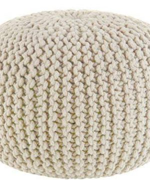 COTTON CRAFT Hand Knitted Cable Style Dori Pouf Ivory Floor Ottoman 100 Cotton Braid Cord Handmade Hand Stitched Truly One Of A Kind Seating 20 Dia X 14 High 0 300x360