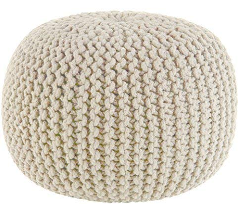COTTON CRAFT Hand Knitted Cable Style Dori Pouf Ivory Floor Ottoman 100 Cotton Braid Cord Handmade Hand Stitched Truly One Of A Kind Seating 20 Dia X 14 High 0